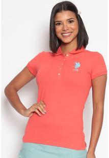 Polo Lisa Em Piqu㪠Com Bordado- Coral & Azulus Polo