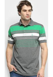 Camisa Polo Aleatory Listrada Fio Tinto Masculina - Masculino-Verde+Cinza