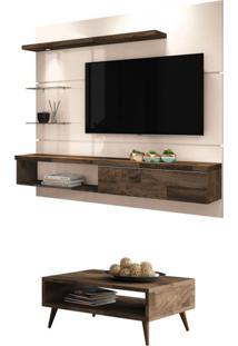 Painel Tv Ores Com Mesa De Centro Lucy Deck/Off White - Hb Móveis
