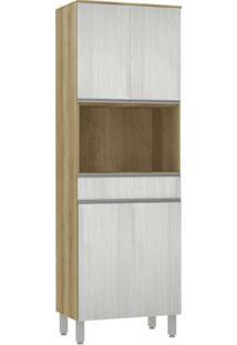 Módulo Cozinha Torre Aline 4 Portas 1 Nicho Forno - 70Cm - 937/190 - Snow Com Carvalho - Smart - Luciane