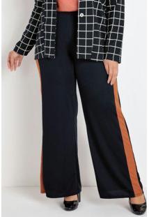 Calça Pantalona Preta E Caramelo Plus Size