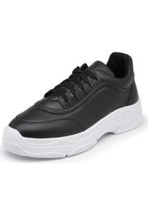 Sapatenis Top Franca Shoes Sola Alta Feminino - Feminino-Preto