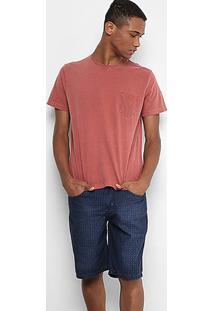 Camiseta Drezzup Estonada Com Bolso Listrado Masculina - Masculino-Vermelho Claro