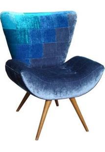Poltrona Flor Degradê Azul - Tommy Design