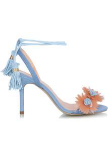 Luiza Barcelos Sandália Jeans Com Aplicação - Azul