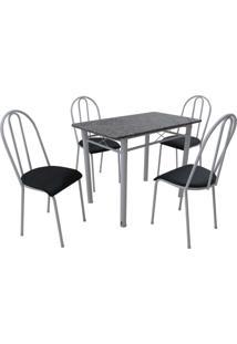 Conjunto De Mesa Genebra C/ 4 Cadeiras Alicante Branco Fabone Móveis Tubulares