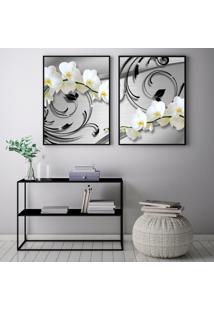Quadro Oppen House 70X100Cm Orquídeas Flores Silver Luxury Decorativo Interiores Sala De Estar Quartos Moldura Preta Com Vidro