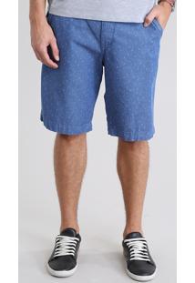 Bermuda Jeans Reta Estampada De Âncoras Com Cinto Azul Médio