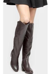 Bota Over The Knee Bottero Elastano Feminina - Feminino-Marrom