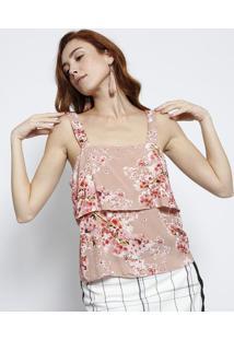 Blusa Floral Com Recorte- Nude & Rosalez A Lez