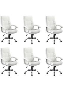 Conjunto Com 6 Cadeiras De Escritório Presidente Giratórias Office Plus Branco