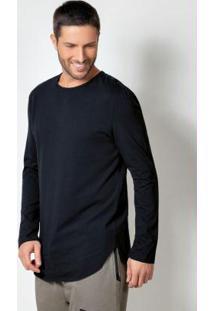 Camiseta Com Barra Arredondada Preta