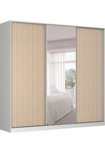 Guarda-Roupa Casal Com Espelho Tunas I 3 Pt 3 Gv Branco E Noce