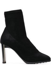 Giuseppe Zanotti Design Ankle Boot Meia De Couro - Preto