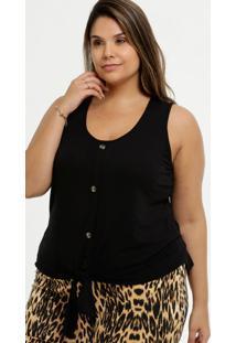 Blusa Feminina Tiras Amarração Plus Size