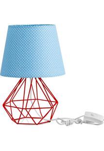 Abajur Diamante Dome Azul/Bolinha Com Aramado Vermelho - Azul - Dafiti