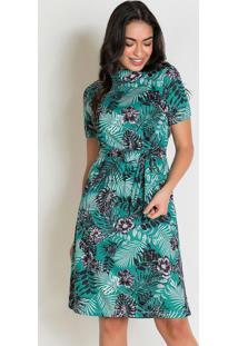 Vestido Com Faixa Folhagem Verde Moda Evangélica