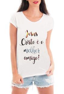 Camiseta Criativa Urbana Melhor Amigo Jesus Gospel Textos - Feminino