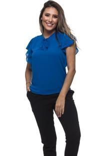 Blusa Clara Arruda Decote Laã§O 20449 Azul - Azul - Feminino - Dafiti