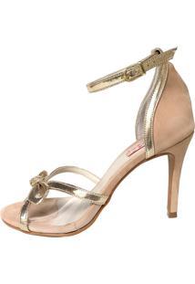 Sandália Blume Calçados Princess Nude/Dourado
