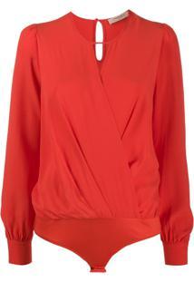 Twin-Set Blusa Com Decote Gota - Vermelho