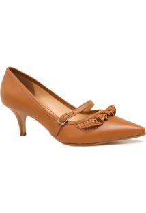 Sapato Zariff Shoes Scarpin Fivela Bico Fino Marrom