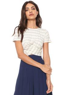 Camiseta Cropped Dimy Canelada Torção Listrada Off-White