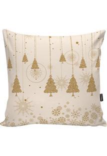 Capa Para Almofada ÁRvores De Natal- Off White & Douradastm Home
