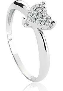 Anel De Ouro Branco 18K Coração Com Pavê De Diamantes-Coleção Cuore