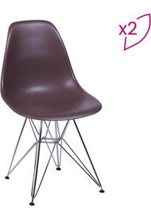 Jogo De Cadeiras Eames Dkr- Cafã© & Prateado- 2Pã§S