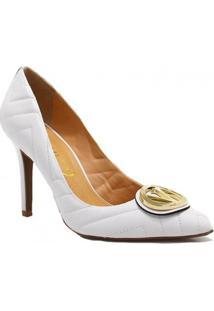 Sapato Vicenza Scarpin Metal Couro - Feminino-Branco