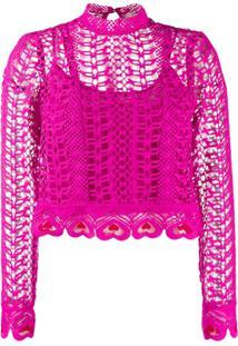 Temperley London Sunrise Heart-Shaped Embroidery Blouse - Rosa