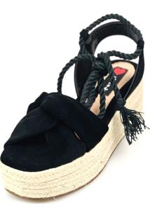 Anabela Espadrille Love Shoes Plataforma Corda Amarrar Preto