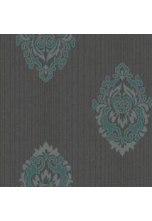 Papel De Parede- Cinza Escuro & Verde- 1000X52Cmshark Metais