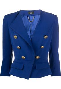 Elisabetta Franchi Cropped Double Breasted Blazer - Azul