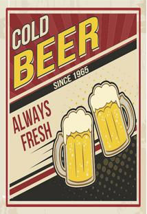 Placa Decorativa Cold Beer Preta E Vermelha