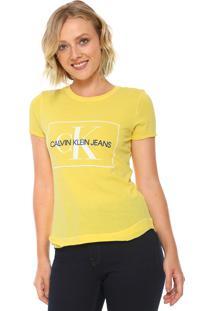 Camiseta Calvin Klein Jeans Logo Mullet Amarela