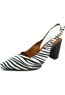 Scarpin Salto Animal Print Zebra Branco Dani K