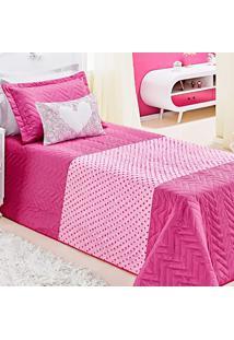 Cobre-Leito Dourados Enxovais Carinho Pink/Rosa Solteiro