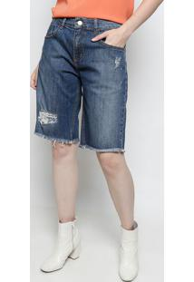 Bermuda Jeans Estonada Com Destroyed - Azul Escuroforum