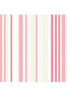 Papel De Parede Quartinhos Adesivo Listrado Rosa E Marfim 2,70X0,57M