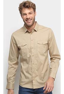 Camisa Colcci Slim Manga Longa 2 Bolsos Masculina - Masculino-Cáqui
