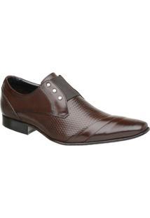 Sapato Malbork Masculino Em Couro Com Elástico 378 - Masculino-Marrom