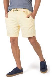 Bermuda Chino Flex Com Cinto Amarelo Claro