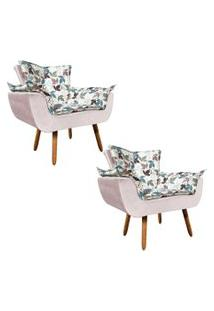 Kit 02 Poltrona Decorativa Opala Composê Estampado Floral D68 E Veludo Rose - D'Rossi