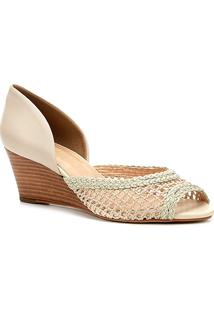 Peep Toe Anabela Shoestock Tressê - Feminino-Off White