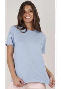 Blusa Feminina Básica Ampla Manga Curta Decote Redondo Azul Claro