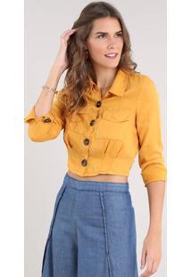 Camisa Feminina Cropped Com Bolsos Manga Longa Mostarda