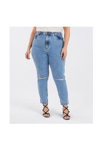 Calça Jeans Mom Com Rasgos Curve E Plus Size Azul