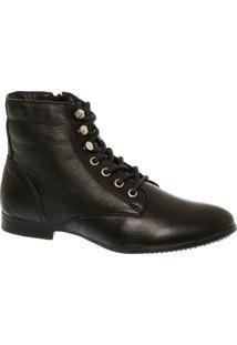 Ankle Boot Em Couro Preto Com Detalhes Prata